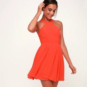 Lulus Forevermore Coral Red Skater Dress M